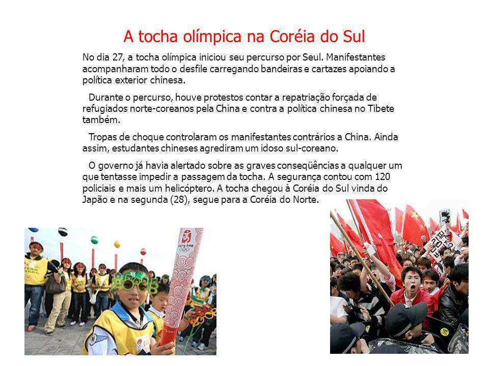 A tocha olímpica na Coréia do Sul