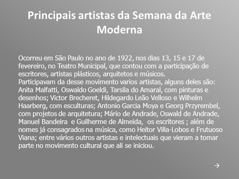 Principais artistas da Semana da Arte Moderna