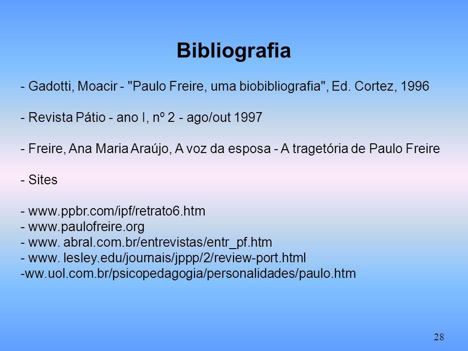 Bibliografia - Gadotti, Moacir - Paulo Freire, uma biobibliografia , Ed. Cortez, 1996. - Revista Pátio - ano I, nº 2 - ago/out 1997.