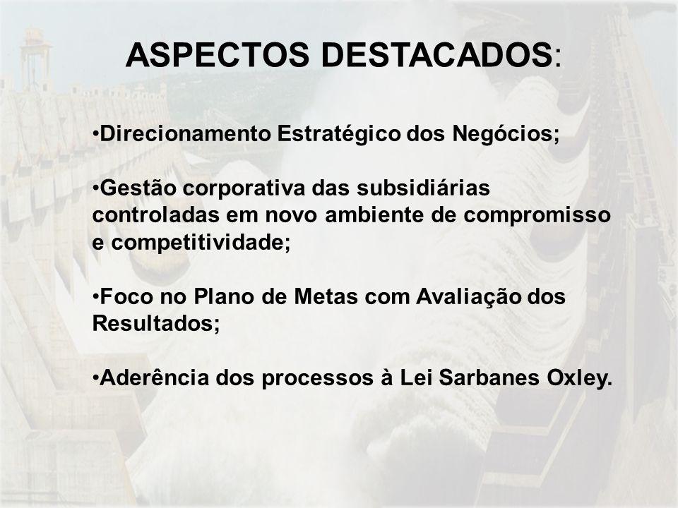 ASPECTOS DESTACADOS: Direcionamento Estratégico dos Negócios;
