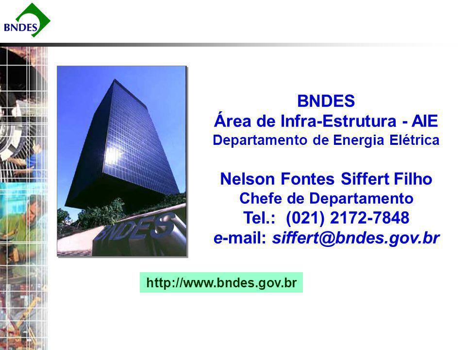 BNDES Área de Infra-Estrutura - AIE Departamento de Energia Elétrica Nelson Fontes Siffert Filho Chefe de Departamento Tel.: (021) 2172-7848 e-mail: siffert@bndes.gov.br