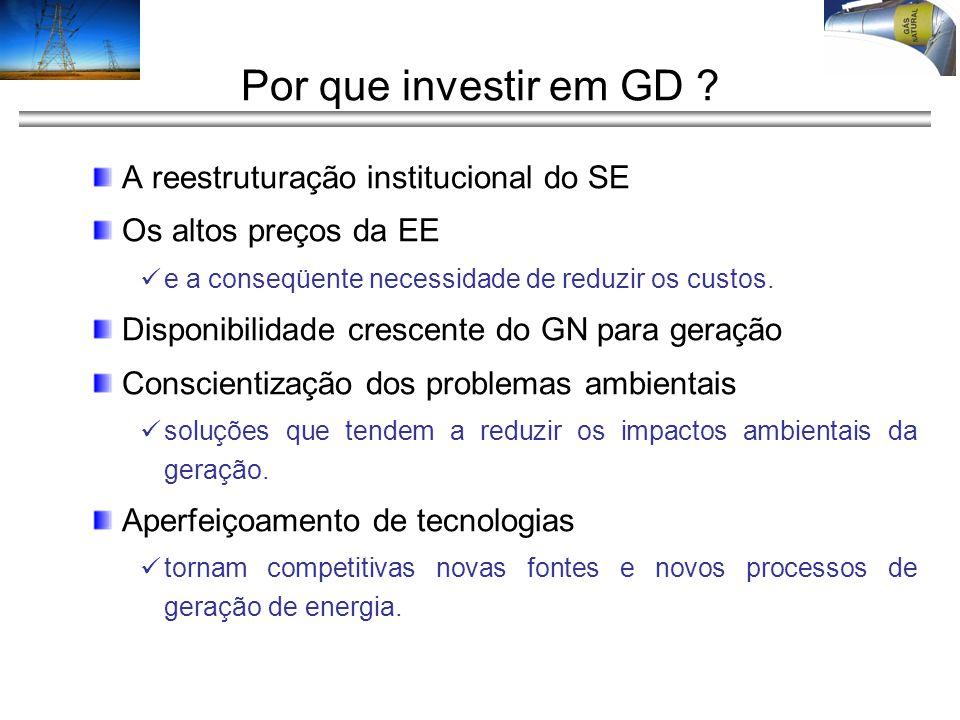Por que investir em GD A reestruturação institucional do SE