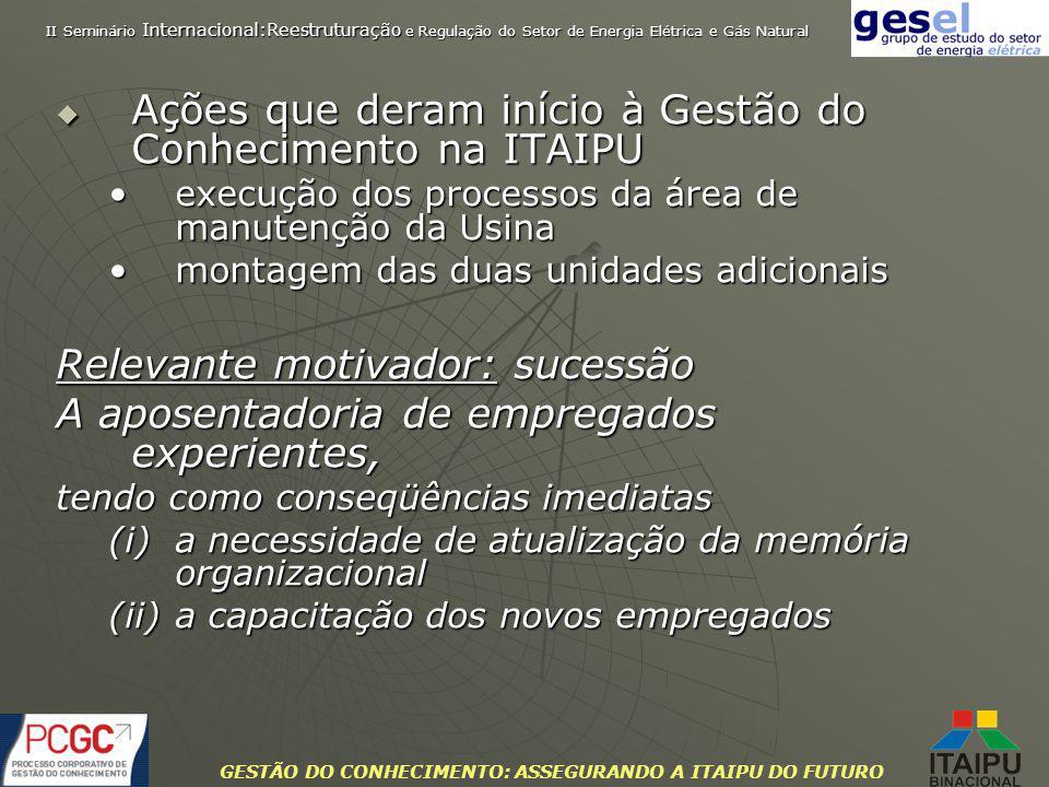 GESTÃO DO CONHECIMENTO: ASSEGURANDO A ITAIPU DO FUTURO