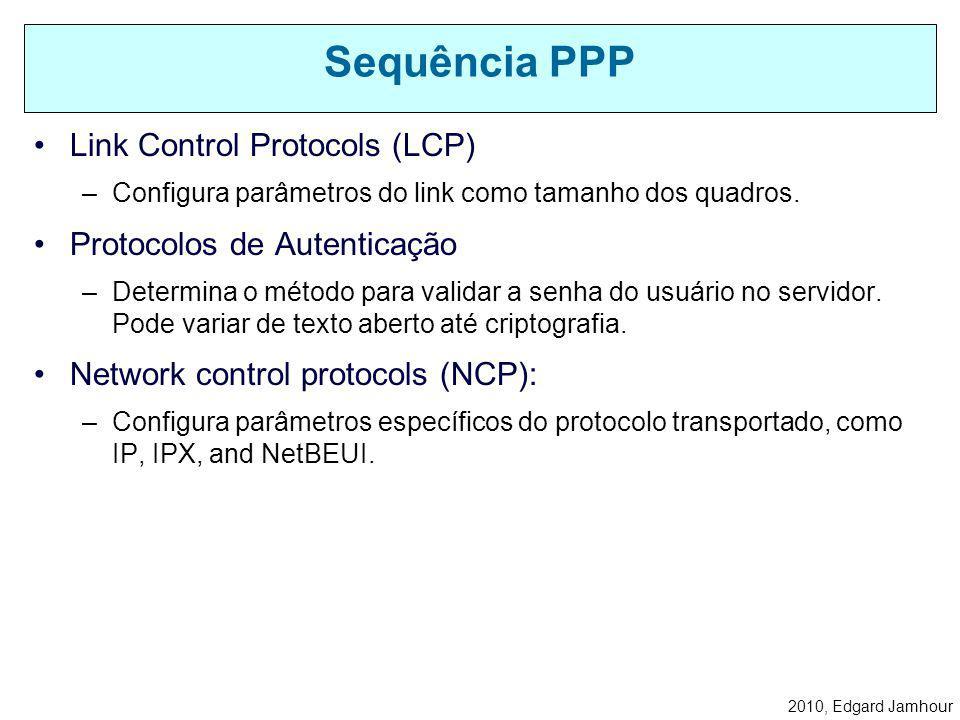 Sequência PPP Link Control Protocols (LCP) Protocolos de Autenticação