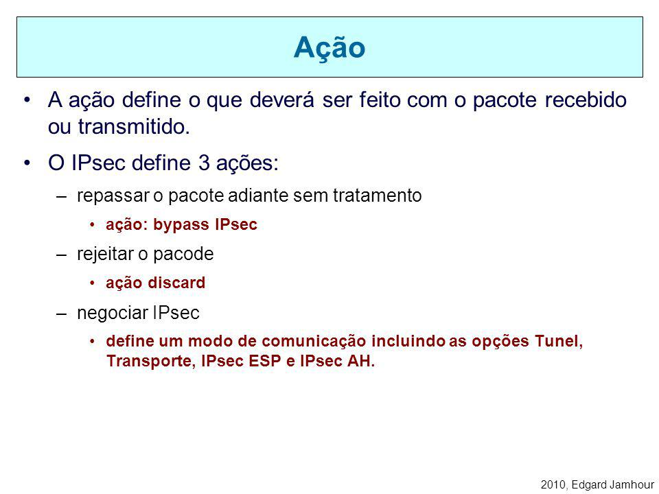 Ação A ação define o que deverá ser feito com o pacote recebido ou transmitido. O IPsec define 3 ações: