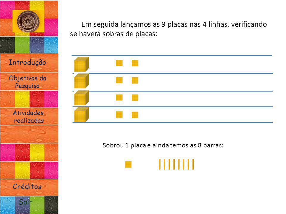 Em seguida lançamos as 9 placas nas 4 linhas, verificando se haverá sobras de placas: