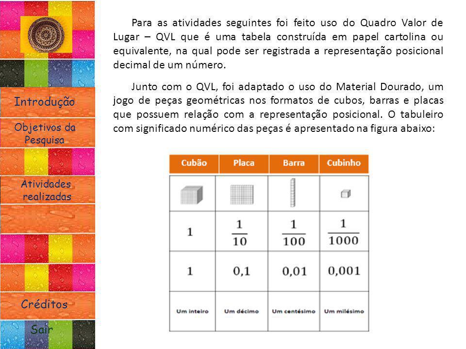 Para as atividades seguintes foi feito uso do Quadro Valor de Lugar – QVL que é uma tabela construída em papel cartolina ou equivalente, na qual pode ser registrada a representação posicional decimal de um número.