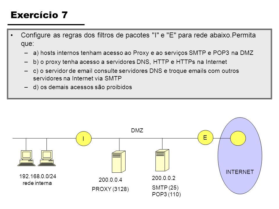 Exercício 7 Configure as regras dos filtros de pacotes I e E para rede abaixo.Permita que:
