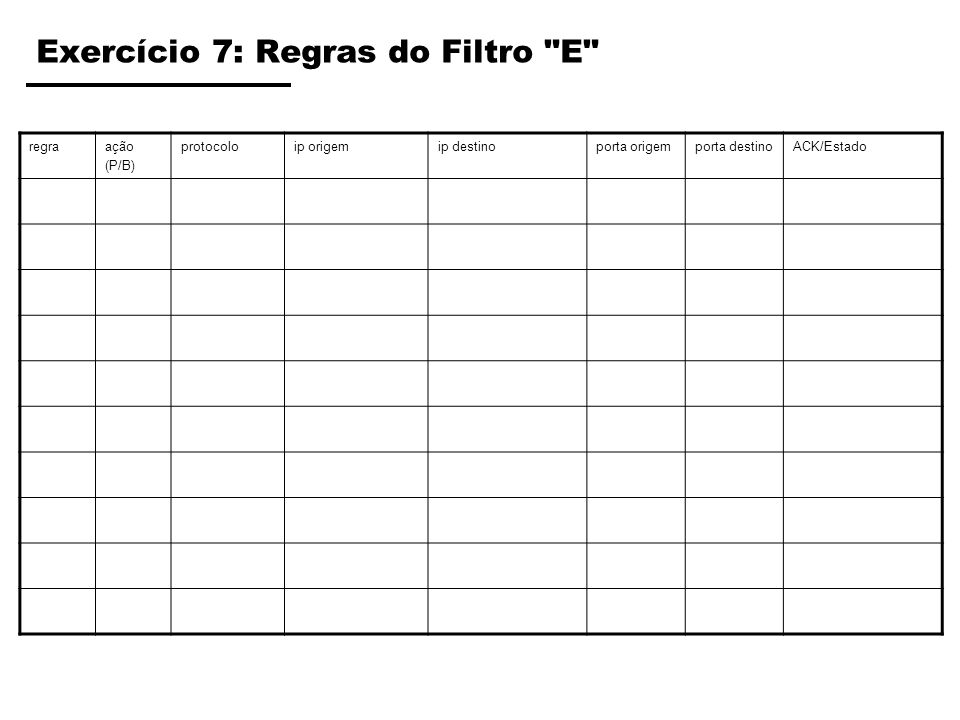 Exercício 7: Regras do Filtro E