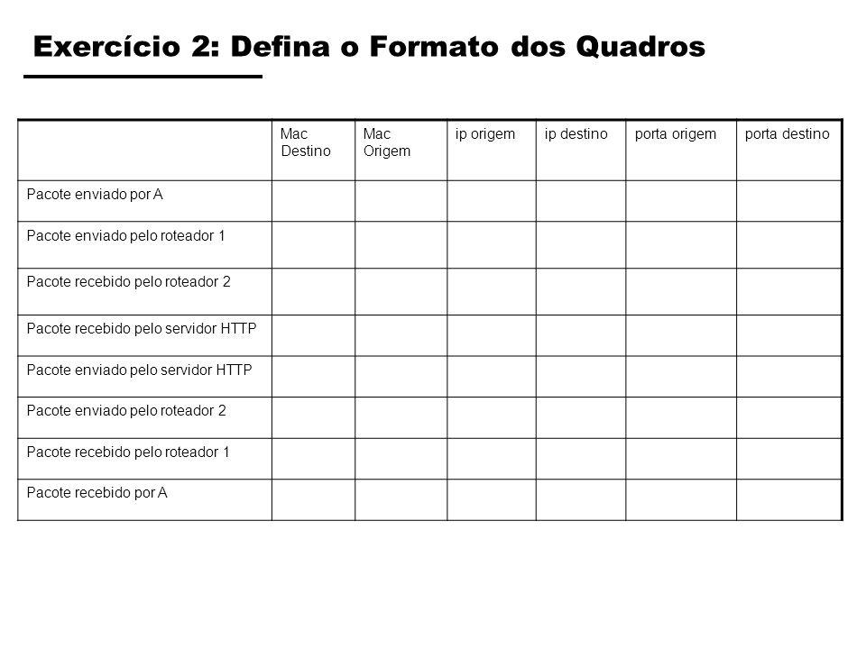 Exercício 2: Defina o Formato dos Quadros