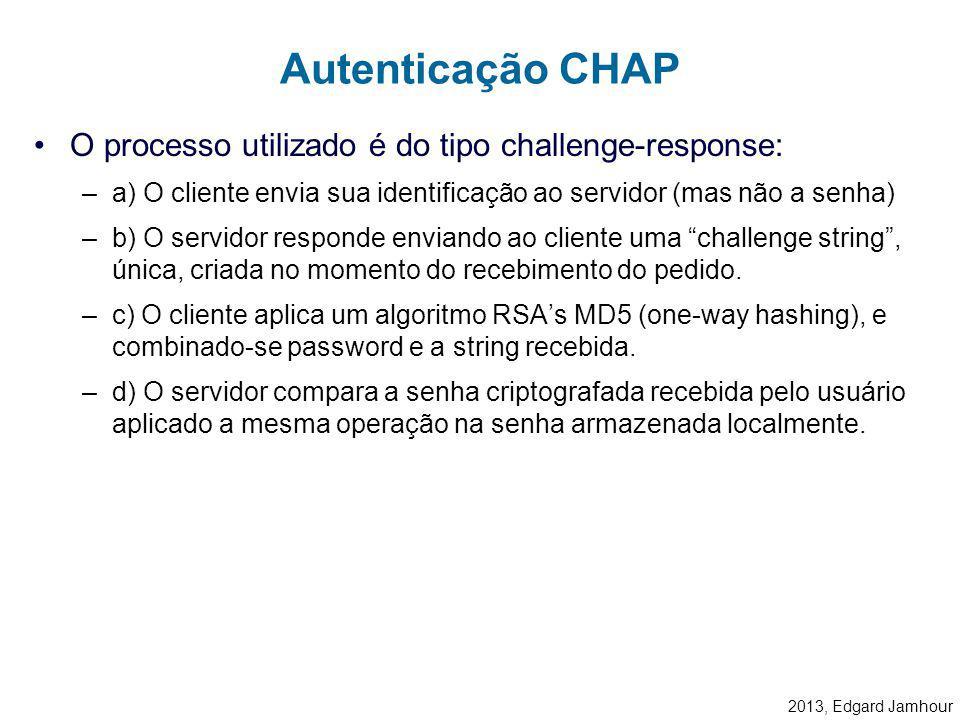 Autenticação CHAP O processo utilizado é do tipo challenge-response: