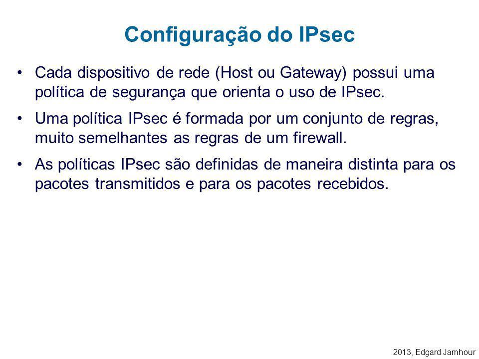 Configuração do IPsec Cada dispositivo de rede (Host ou Gateway) possui uma política de segurança que orienta o uso de IPsec.