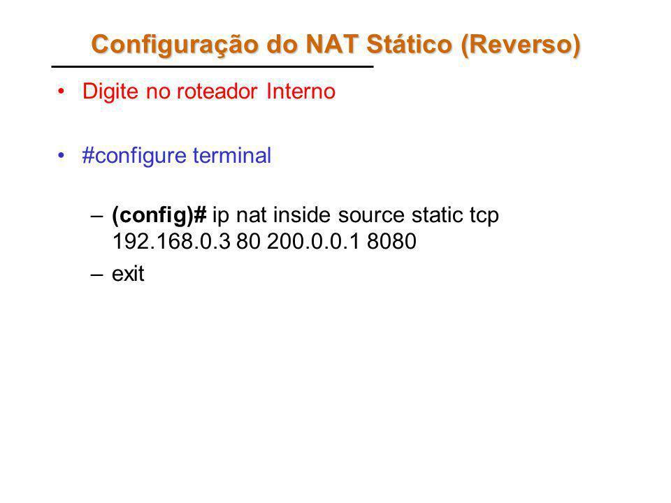 Configuração do NAT Stático (Reverso)