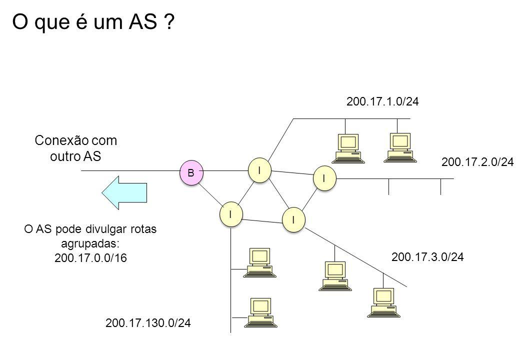 O AS pode divulgar rotas agrupadas: 200.17.0.0/16