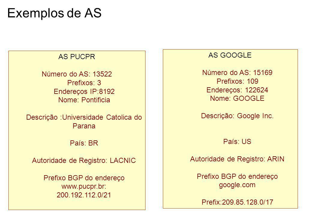 Exemplos de AS AS GOOGLE AS PUCPR Número do AS: 15169