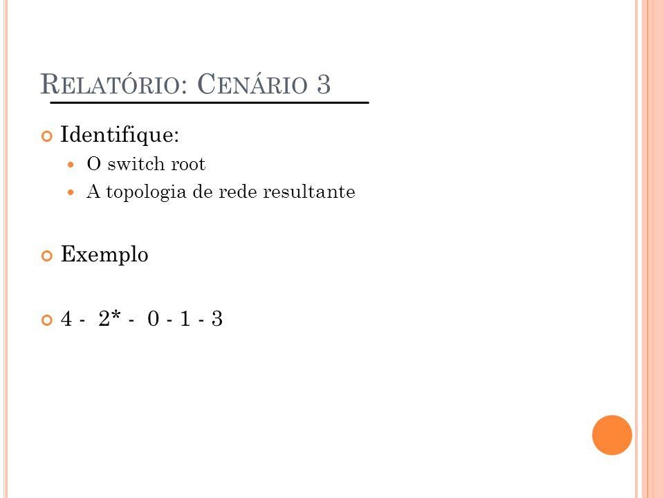 Relatório: Cenário 3 Identifique: Exemplo 4 - 2* - 0 - 1 - 3