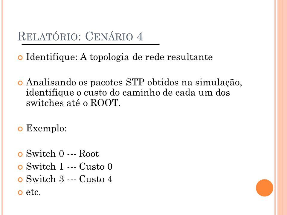 Relatório: Cenário 4 Identifique: A topologia de rede resultante