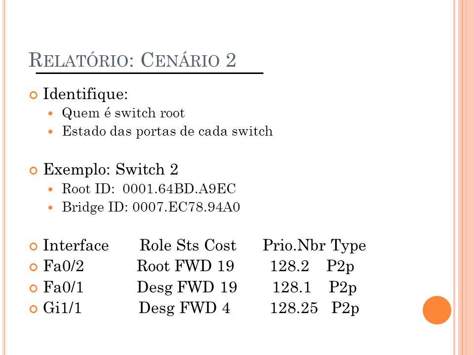 Relatório: Cenário 2 Identifique: Exemplo: Switch 2