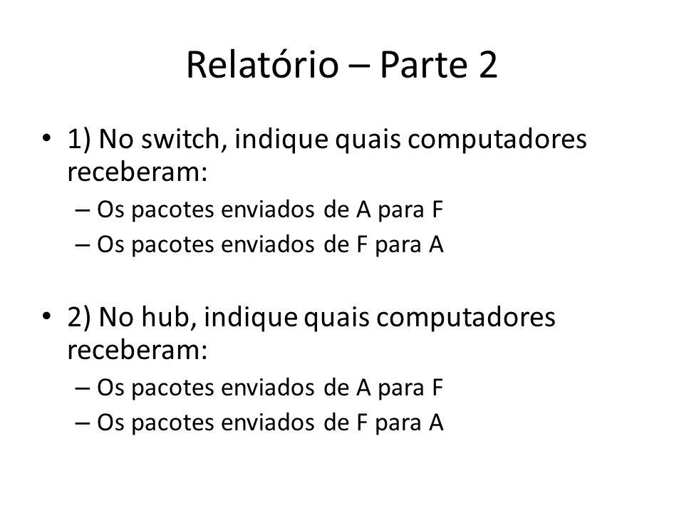 Relatório – Parte 2 1) No switch, indique quais computadores receberam: Os pacotes enviados de A para F.