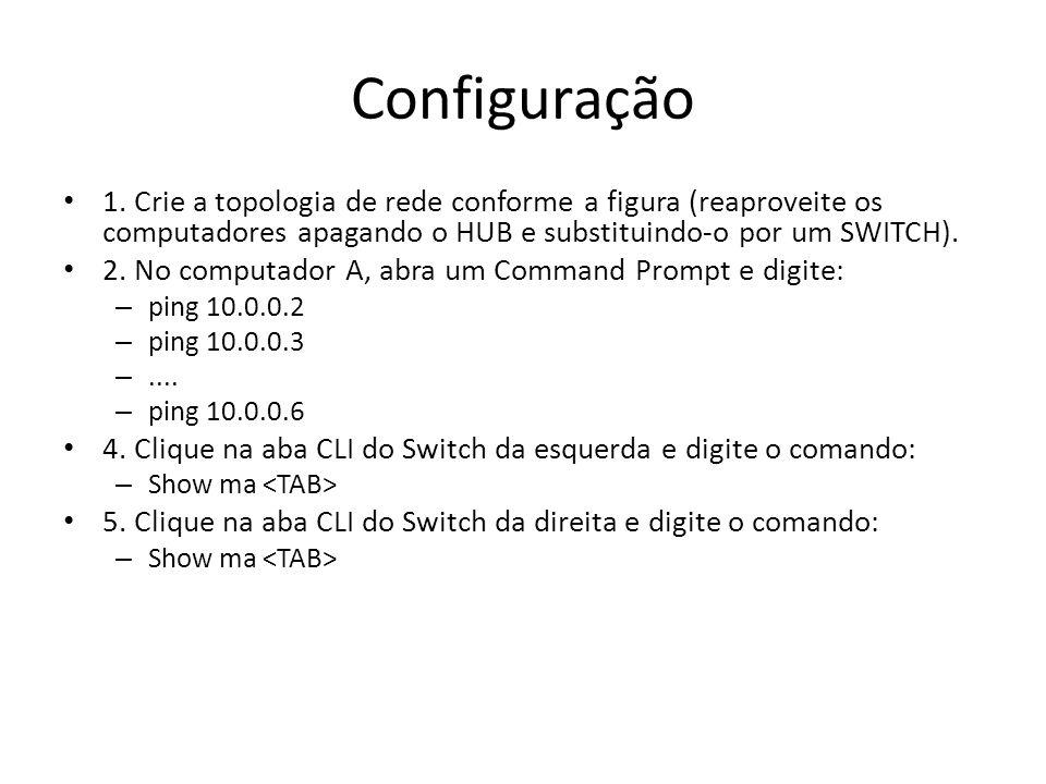 Configuração 1. Crie a topologia de rede conforme a figura (reaproveite os computadores apagando o HUB e substituindo-o por um SWITCH).
