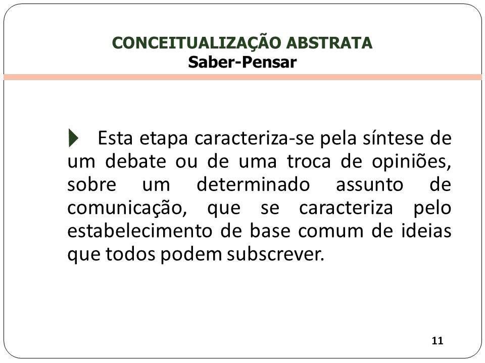 CONCEITUALIZAÇÃO ABSTRATA Saber-Pensar