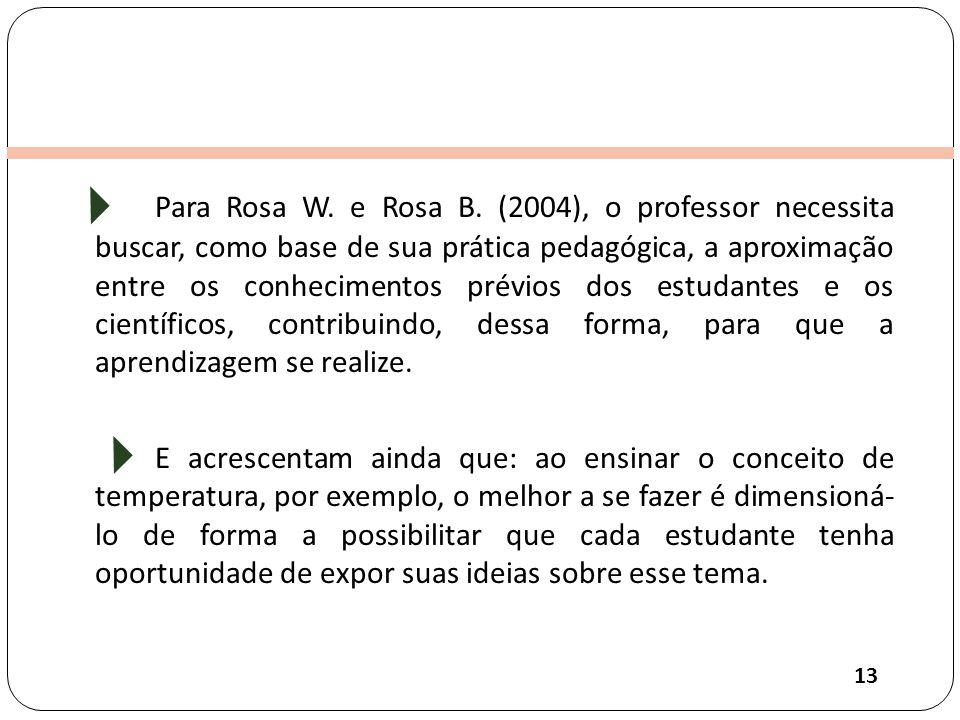 Para Rosa W. e Rosa B. (2004), o professor necessita buscar, como base de sua prática pedagógica, a aproximação entre os conhecimentos prévios dos estudantes e os científicos, contribuindo, dessa forma, para que a aprendizagem se realize.