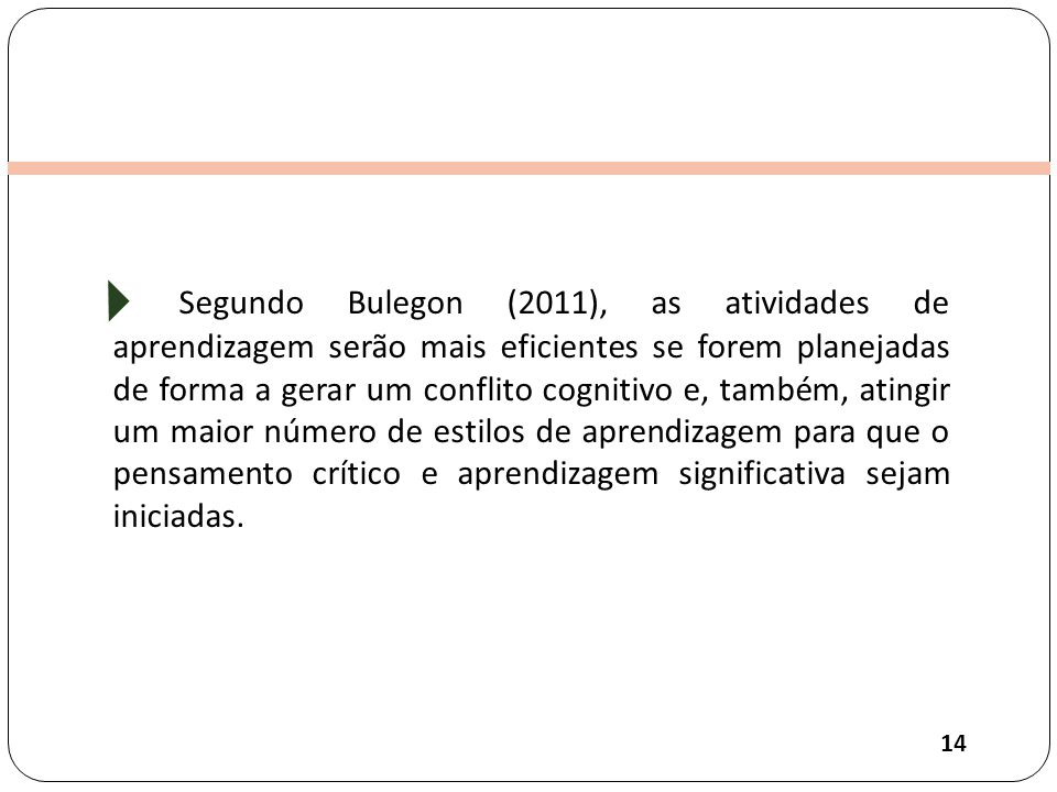 Segundo Bulegon (2011), as atividades de aprendizagem serão mais eficientes se forem planejadas de forma a gerar um conflito cognitivo e, também, atingir um maior número de estilos de aprendizagem para que o pensamento crítico e aprendizagem significativa sejam iniciadas.