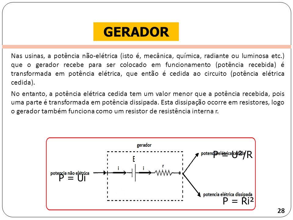 GERADOR P = U²/R P = Ui P = Ri²