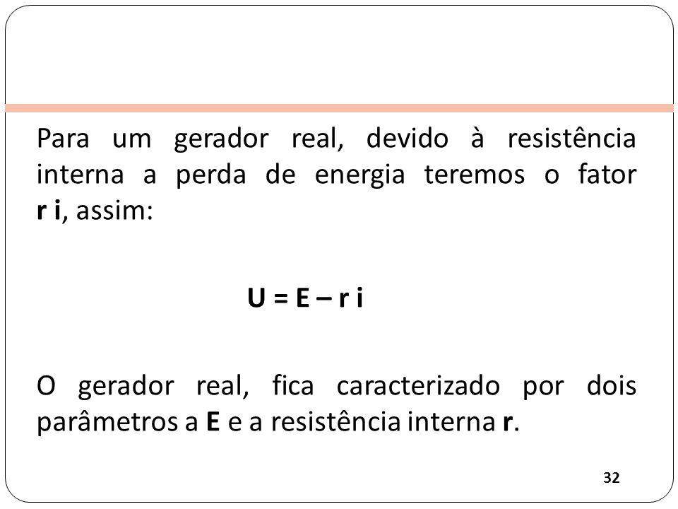 Para um gerador real, devido à resistência interna a perda de energia teremos o fator r i, assim: