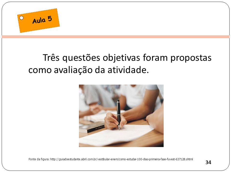 Três questões objetivas foram propostas como avaliação da atividade.
