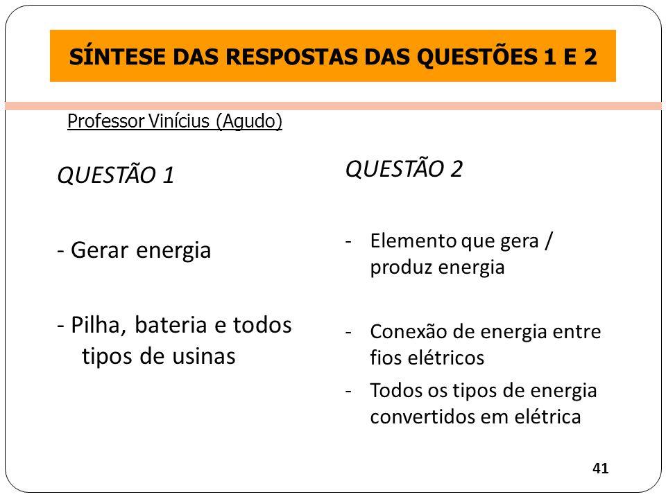 SÍNTESE DAS RESPOSTAS DAS QUESTÕES 1 E 2