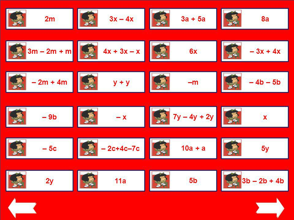2m 3x – 4x. 3a + 5a. 8a. 3m – 2m + m. 4x + 3x – x. 6x. – 3x + 4x. – 2m + 4m. y + y. –m. – 4b – 5b.