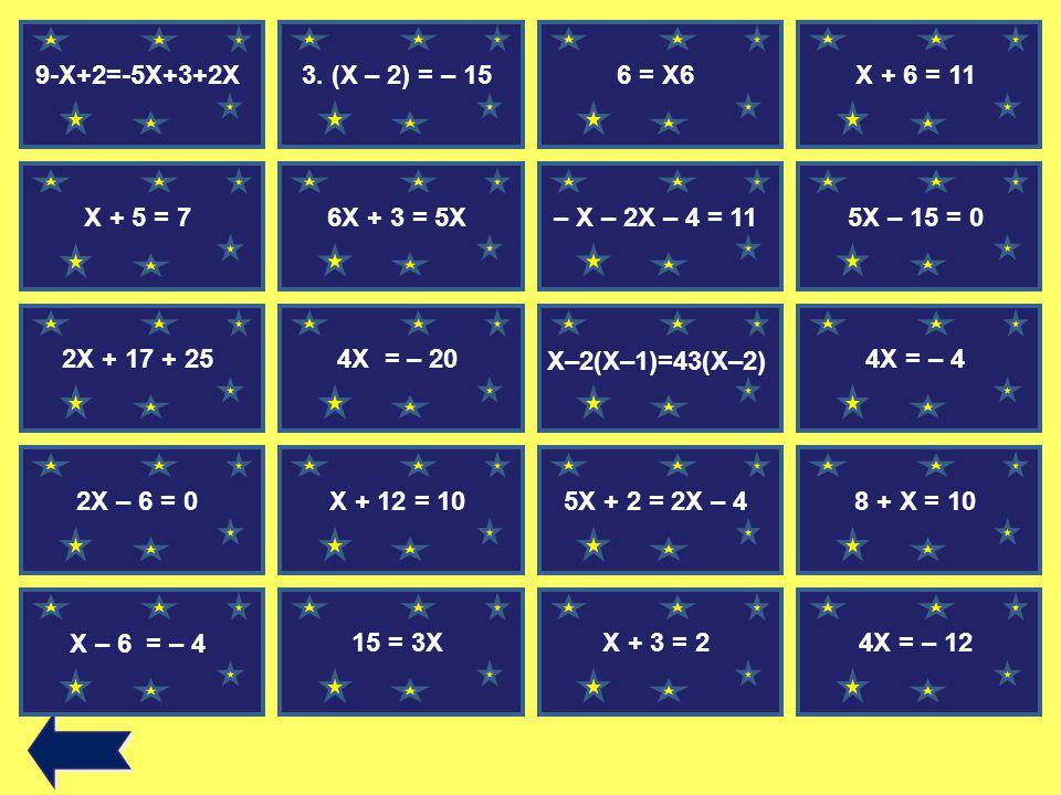 9-X+2=-5X+3+2X 3. (X – 2) = – 15. 6 = X6. X + 6 = 11. 9-X+2=-5X+3+2X. X + 5 = 7. 6X + 3 = 5X. – X – 2X – 4 = 11.