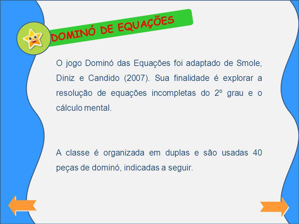 DOMINÓ DE EQUAÇÕES