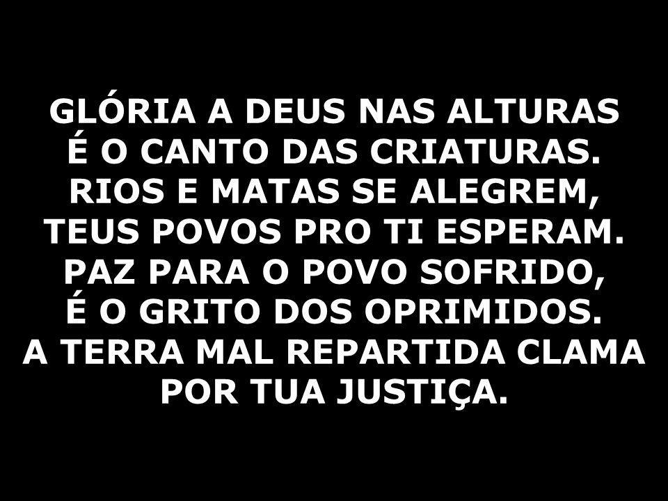 GLÓRIA A DEUS NAS ALTURAS É O CANTO DAS CRIATURAS