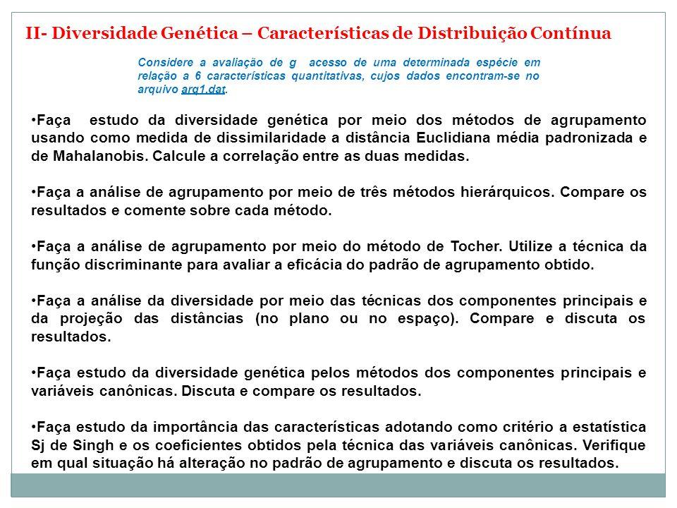II- Diversidade Genética – Características de Distribuição Contínua