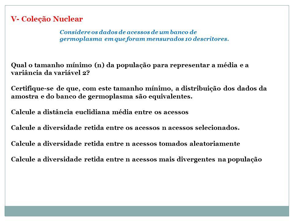 V- Coleção Nuclear Considere os dados de acessos de um banco de germoplasma em que foram mensurados 10 descritores.