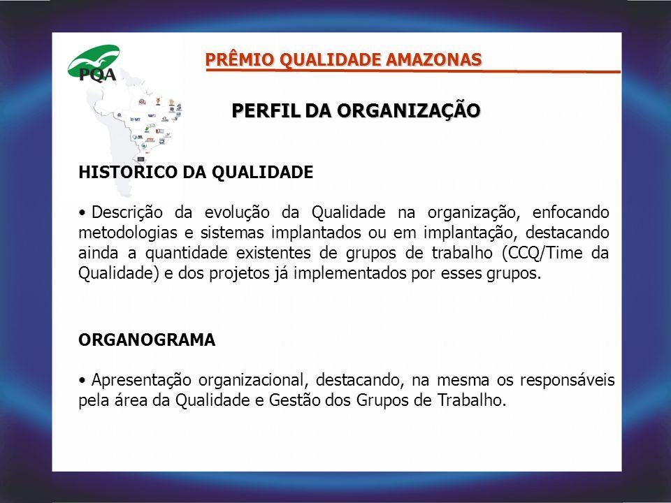 PERFIL DA ORGANIZAÇÃO PRÊMIO QUALIDADE AMAZONAS HISTORICO DA QUALIDADE