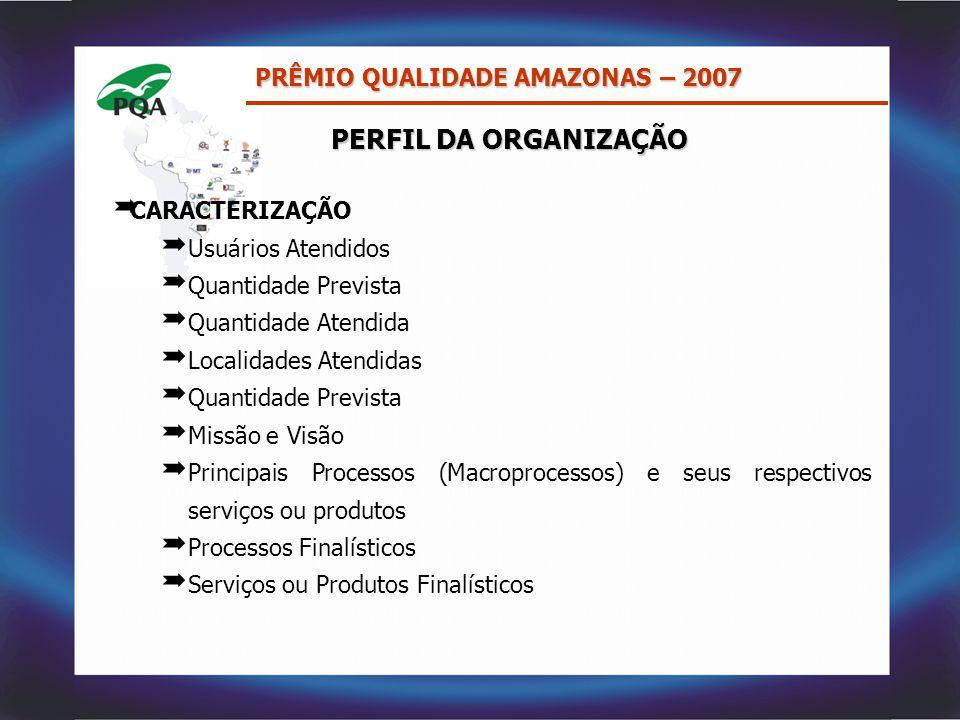 PERFIL DA ORGANIZAÇÃO PRÊMIO QUALIDADE AMAZONAS – 2007 CARACTERIZAÇÃO