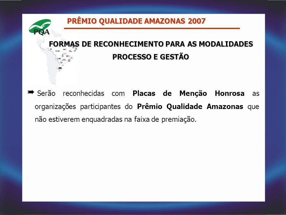 FORMAS DE RECONHECIMENTO PARA AS MODALIDADES