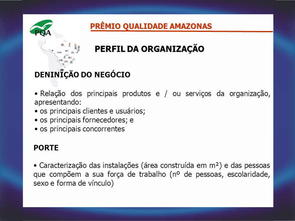 PERFIL DA ORGANIZAÇÃO PRÊMIO QUALIDADE AMAZONAS DENINIÇÃO DO NEGÓCIO