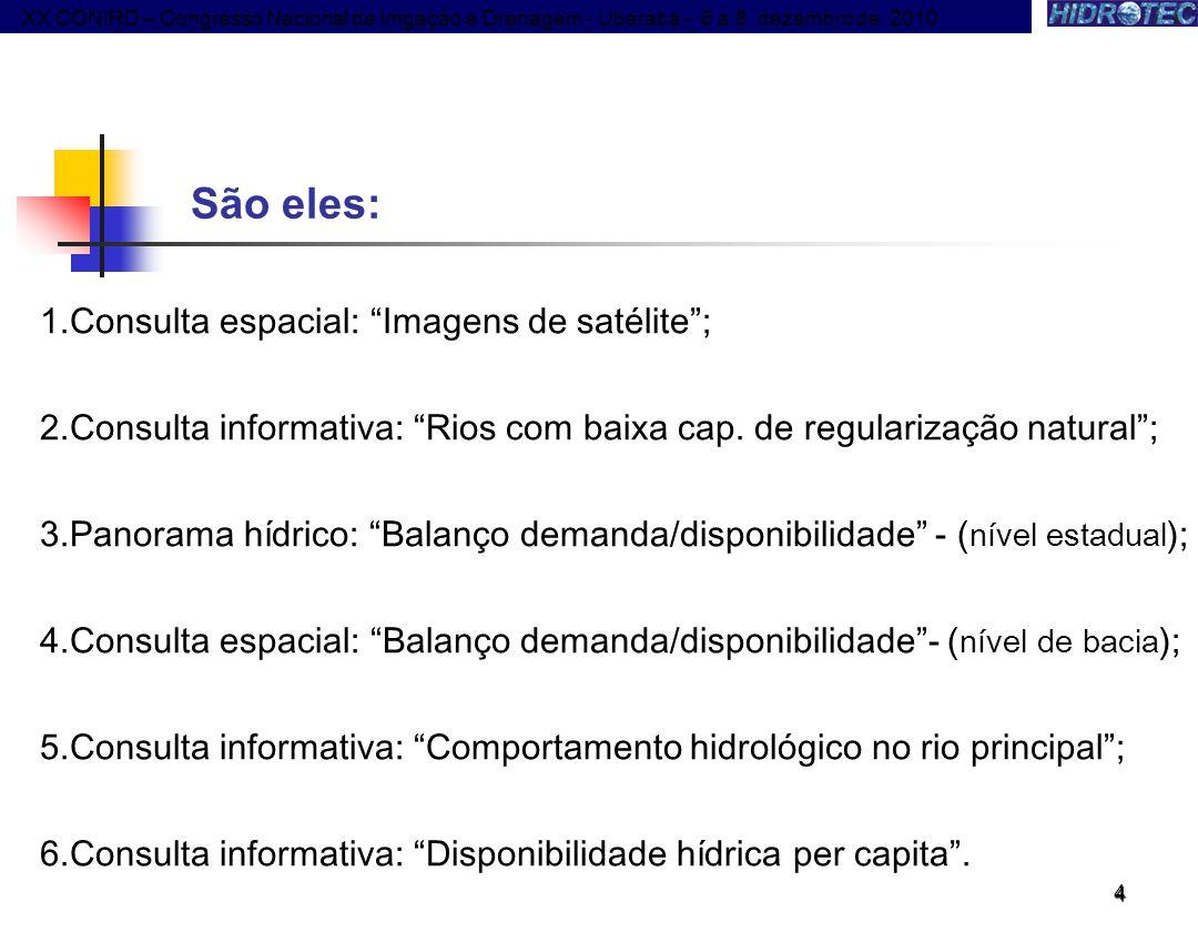 São eles: Consulta espacial: Imagens de satélite ;