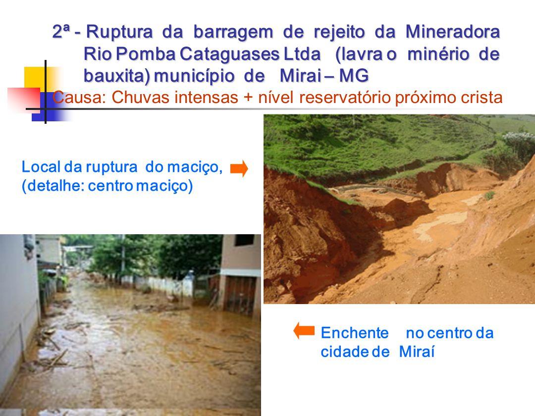 2ª - Ruptura da barragem de rejeito da Mineradora Rio Pomba Cataguases Ltda (lavra o minério de bauxita) município de Mirai – MG Causa: Chuvas intensas + nível reservatório próximo crista
