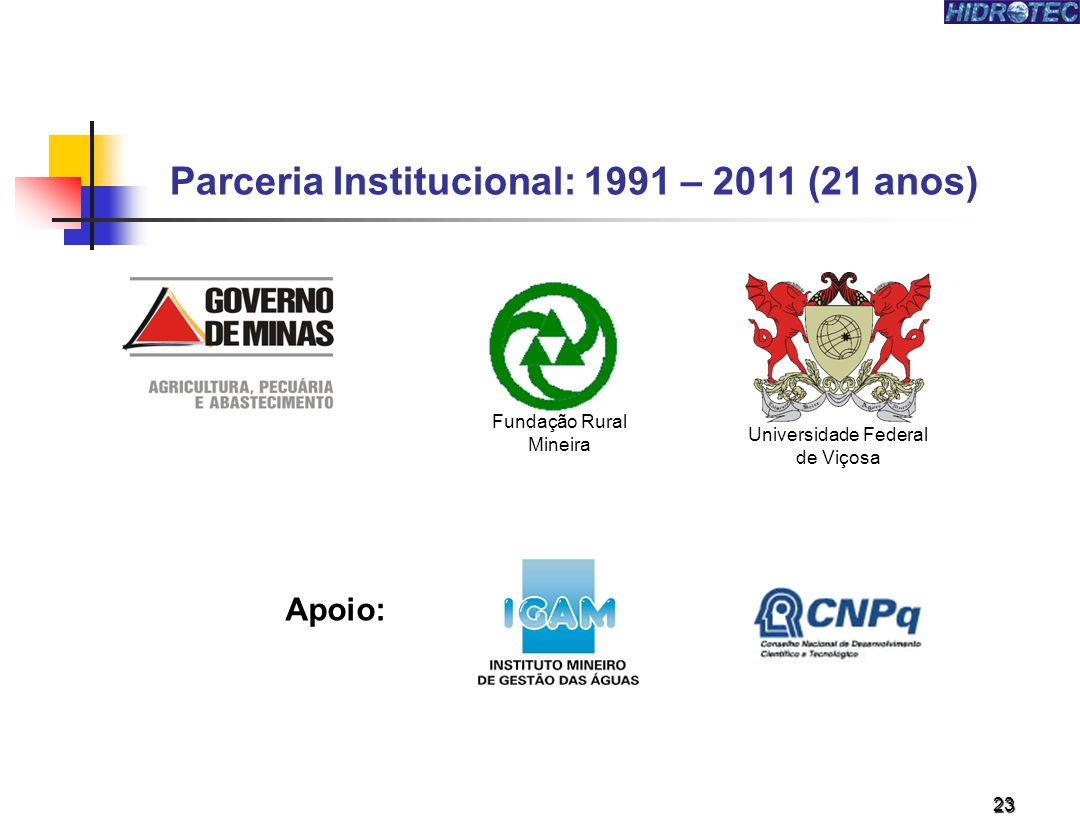 Parceria Institucional: 1991 – 2011 (21 anos)