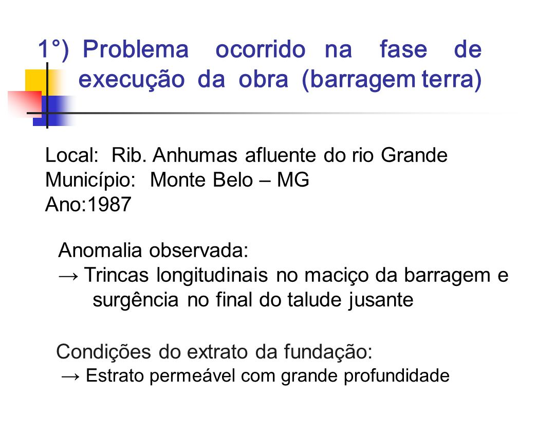 1°) Problema ocorrido na fase de execução da obra (barragem terra)