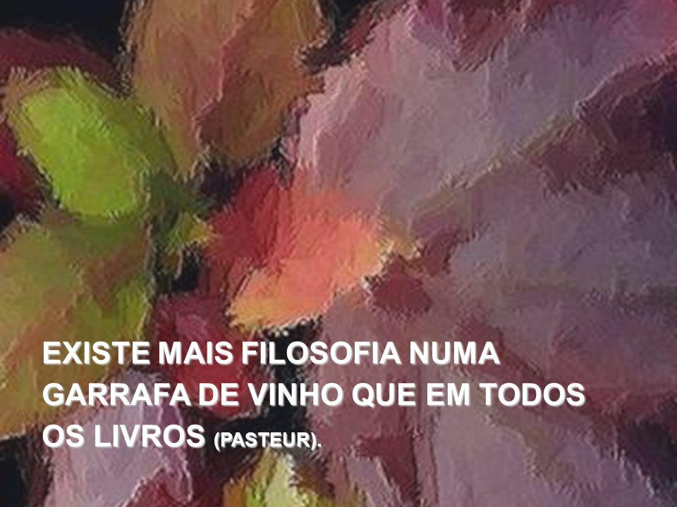 EXISTE MAIS FILOSOFIA NUMA GARRAFA DE VINHO QUE EM TODOS OS LIVROS (PASTEUR).