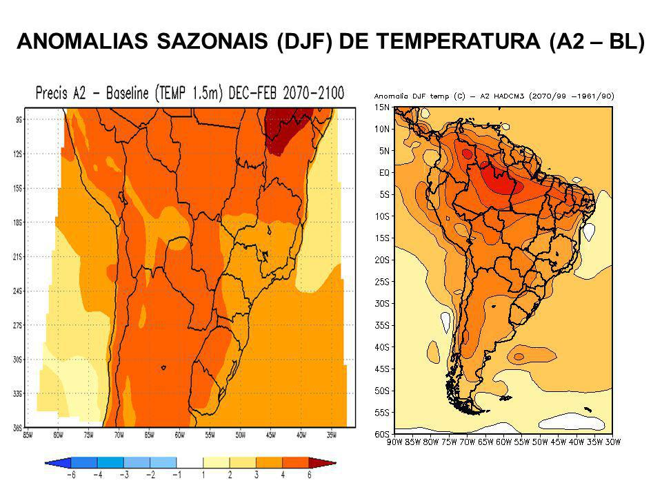 ANOMALIAS SAZONAIS (DJF) DE TEMPERATURA (A2 – BL)