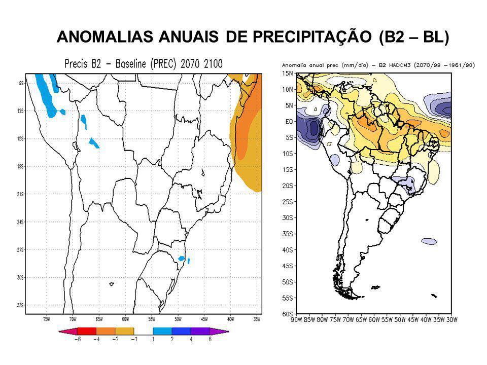 ANOMALIAS ANUAIS DE PRECIPITAÇÃO (B2 – BL)
