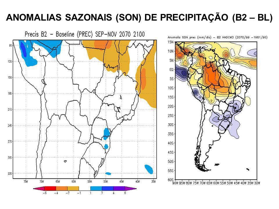 ANOMALIAS SAZONAIS (SON) DE PRECIPITAÇÃO (B2 – BL)