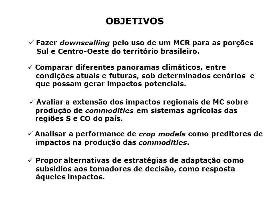 OBJETIVOS  Fazer downscalling pelo uso de um MCR para as porções Sul e Centro-Oeste do território brasileiro.